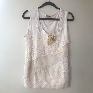 One World XL Beige Layered Lace Tank